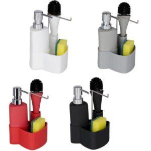 דיספנסר לסבון נוזלי + תא לספוג + מברשת במגוון צבעים