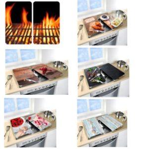 זוג זכוכיות מעוצבות לכיסוי כיריים ולהגשת כלים חמים במגוון צבעים