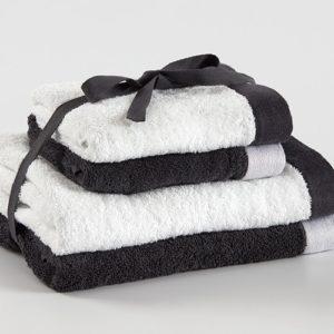 מארז 4 מגבות רחצה דגם שי 100% כותנה שחור-לבן