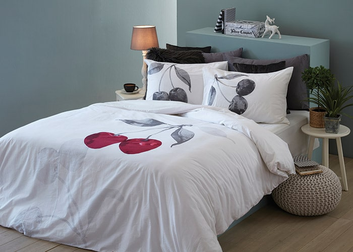 סט מצעים מסדרת אלמנט 100% כותנה - דגם תותי מיטה וחצי 120x200