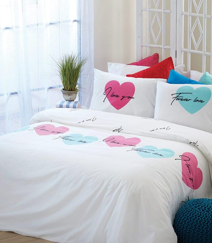 סט מצעים מסדרת לאב 100% כותנה - דגם ליבי מיטה וחצי 120x200