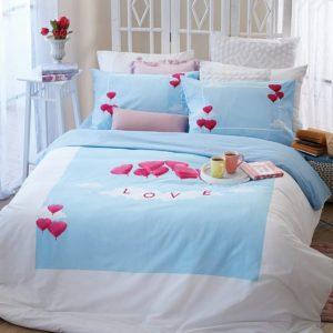 סט מצעים מסדרת לאב 100% כותנה - דגם ליאת מיטה וחצי 120x200