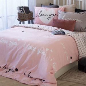 סט מצעים מסדרת לאב 100% כותנה - דגם לילך מיטה וחצי 120x200