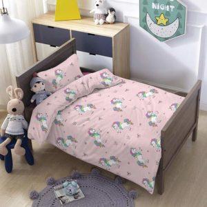 סט מצעים לילדים 100% פוליאסטר מסדרת ספורט - דגם יוניקורן מיטת מעבר 70x140