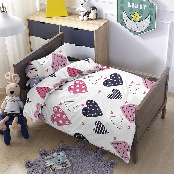 סט מצעים לילדים 100% כותנה מסדרת טוויט - דגם לאב מיטת מעבר 70x140