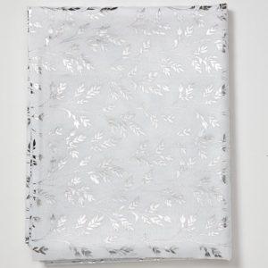מפת שולחן דגם עלים עגול 150 לבן