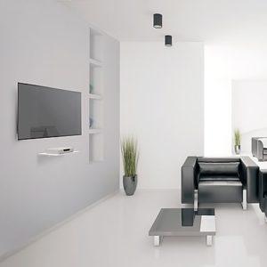 מדף זכוכית לבן לאודיו וידיאו- דגם E85GW