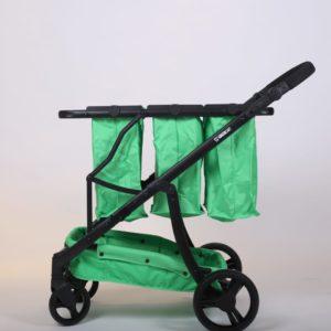 עגלת קניות מתקפלת 4 גלגלים גרין קארט כולל 3 סלים בצבע ירוק ושלדה שחורה
