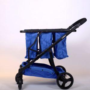 עגלת קניות מתקפלת 4 גלגלים גרין קארט כולל 3 סלים בצבע כחול ושלדה שחורה