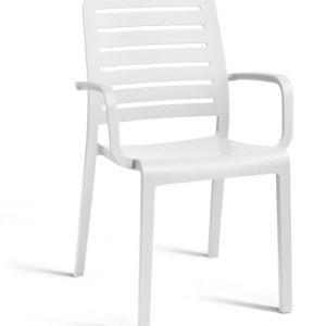 כסא שארלוט קנטרי עם ידיות - לבן